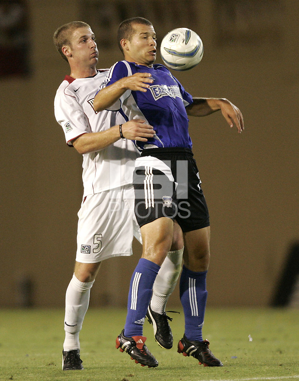 23 July 2005: Alejandro Moreno of Earthquakes tries to control the ball away from Jeff Parke of MetroStars at Spartan Stadium in San Jose, California.  Earthquakes defeated MetroStars, 2-1.