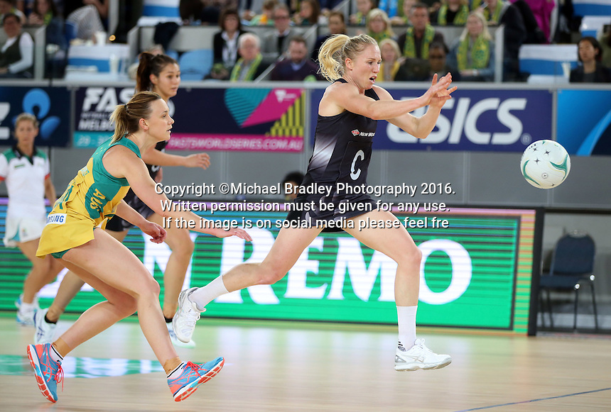04.09.2016 Silver Ferns Laura Langman and Australia's Natalie Medhurst in action during the Netball Quad Series match between the Silver Ferns and Australia played at Margaret Court Arena in Melbourne. Mandatory Photo Credit ©Michael Bradley.