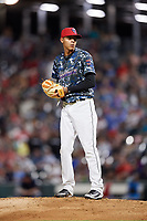 Jacksonville Jumbo Shrimp relief pitcher Jorgan Cavanerio (18) gets ready to deliver a pitch during a game against the Mobile BayBears on April 14, 2018 at Baseball Grounds of Jacksonville in Jacksonville, Florida.  Mobile defeated Jacksonville 13-3.  (Mike Janes/Four Seam Images)