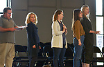 Performers Marc Molomot (John Adams), Amanda Boyd (Constance Fletcher), Libby Sokolowski (Lillian Russell), Veronica Forman (Jenny Reefer), and Ella Loudon (Indiana Elliot) at an Open Rehersal of the opera, The Mother of Us All, at the Hudson Opera House, in Hudson, NY, on Friday, October 27, 2017. Photo by Jim Peppler. Copyright/Jim Peppler-2017.