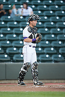 Winston-Salem Dash catcher Sean O'Connell (14) on defense against the Frederick Keys at BB&T Ballpark on May 24, 2016 in Winston-Salem, North Carolina.  The Keys defeated the Dash 7-1.  (Brian Westerholt/Four Seam Images)