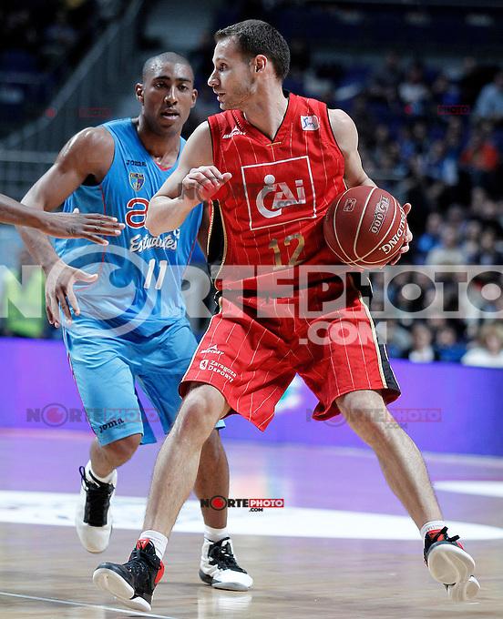 Asefa Estudiantes' Jayson Granger (l) and Cai Zaragoza's Pedro Llompart during Liga Endesa ACB match.November 11,2012. (ALTERPHOTOS/Acero) /NortePhoto