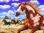 Interlitho, Lorenzo, REALISTIC ANIMALS, paintings, american wild horses(KL3872,#A#) realistische Tiere, realista, illustrations, pinturas ,puzzles