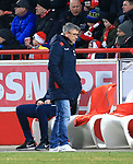 12.04.2019, Stadion an der Wuhlheide, Berlin, GER, 2.FBL, 1.FC UNION BERLIN  VS. Jahn Regensburg, <br /> DFL  regulations prohibit any use of photographs as image sequences and/or quasi-video<br /> im Bild Cheftrainer (Head Coach) Urs Fischer(1.FC Union Berlin)<br /> <br /> <br />      <br /> Foto &copy; nordphoto / Engler