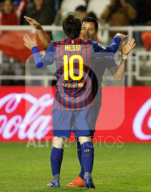 FC Barcelona's Leo Messi (l) and Alexis Sanchez during La Liga match.April 29,2012. (ALTERPHOTOS/Acero)