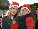 Lucy Campbell and Sam Caffrey who took part in the Drogheda Santa Run to Scotch Hall. Photo:Colin Bell/pressphotos.ie