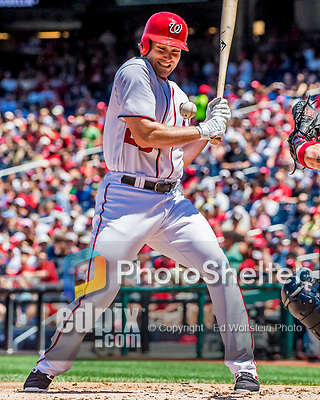 9 July 2017: Washington Nationals All-Star second baseman Daniel Murphy is brushed back by a Sean Newcomb pitch in the first inning against the Atlanta Braves at Nationals Park in Washington, DC. The Nationals defeated the Atlanta Braves to split their 4-game series going into the All-Star break. Mandatory Credit: Ed Wolfstein Photo *** RAW (NEF) Image File Available ***