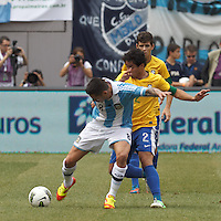 Argentina midfielder Jose Sosa (8) attempts to control the ball as Brazil defender Rafael Silva (2) pressures. In an international friendly (Clash of Titans), Argentina defeated Brazil, 4-3, at MetLife Stadium on June 9, 2012.