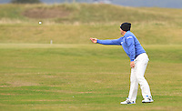 Merrick Bremner (RSA) throws a ball to a supporter on the 15th fairway during Round 4 of the 2015 Alfred Dunhill Links Championship at the Old Course in St. Andrews in Scotland on 4/10/15.<br /> Picture: Thos Caffrey | Golffile
