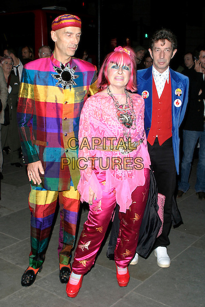 ZANDRA RHODES.The VIP private viewing of portraits by artist David Hockney at the National Portrait Gallery, London, UK..October 11th, 2006 .Ref: AH.full length pink hair satin trousers top suit multi coloured.www.capitalpictures.com.sales@capitalpictures.com.©Adam Houghton/Capital Pictures.