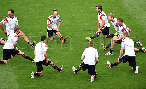 08.07.2014. Estadio Mineirao, Belo Horizonte, Brazil.  German players stretching prior to the FIFA World Cup 2014 semi-final soccer match between Brazil and Germany at Estadio Mineirao in Belo Horizonte, Brazil, 08 July 2014.