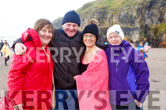 Margaret Brown, Billy Mangan, Karen Brown and Anna Mc Mahon after the chill dip at the Fourth Annual Connie Harnett Memorial Swim in Ballybunion on New Years Day.