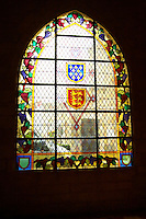 stained glass windows couvent jacobins, salle dominicains saint emilion bordeaux france