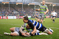 Juan Pablo Socino of Newcastle Falcons touches the ball down behind his own try-line. Anglo-Welsh Cup match, between Bath Rugby and Newcastle Falcons on January 27, 2018 at the Recreation Ground in Bath, England. Photo by: Patrick Khachfe / Onside Images