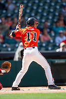 Sam Houston State Bearkats outfielder Colt Atwood #11 at bat during the NCAA baseball game against the Texas Tech Red Raiders on March 1, 2014 during the Houston College Classic at Minute Maid Park in Houston, Texas. The Bearkats defeated the Red Raiders 10-6. (Andrew Woolley/Four Seam Images)