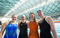 Picture By Allan Mckenzie/SWpix.com - 28/10/2017 - Swimming - Swim England Masters National Champs - Ponds Forge International Sports Centre, Sheffield, England - Silver City's Rachael Kier, Louise Kennedy, Kelly McIntosh & Laura Robertson win the Womens open 800m freestyle.
