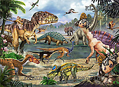 Interlitho, Lorenzo, REALISTIC ANIMALS, paintings, dinosaur world, KL4360,#a# realistische Tiere, realista, illustrations, pinturas ,puzzles