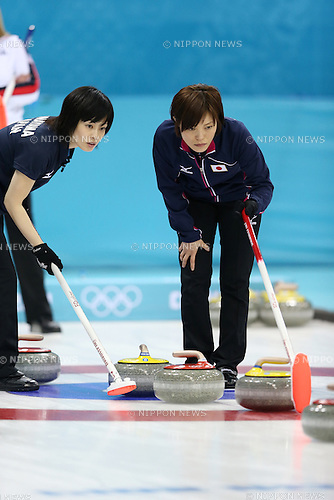 (L-R) Yumie Funayama, <br /> Ayumi Ogasawara (JPN), <br /> FEBRUARY 13, 2014 - Curling : Women's Curling Round Robin match between USA - Japan at &quot;ICE CUBE&quot; Curling Center during the Sochi 2014 Olympic Winter Games in Sochi, Russia.  <br /> (Photo by Koji Aoki/AFLO SPORT)