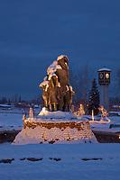 Golden heart plaza, First family statue, downtown Fairbanks, Alaska in the winter.