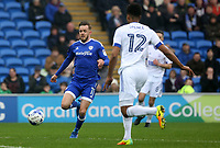 Craig Noone of Cardiff City is challenged by Jordan Spence of Ipswich Town during the Sky Bet Championship match between Cardiff City and Ipswich Town at The Cardiff City Stadium, Cardiff, Wales, UK. Saturday 18 March 2017