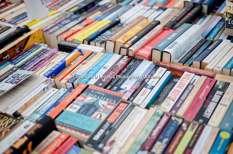 Thursday 22 May 2014<br /> Pictured: second hand books at the Hay Festival <br /> Re: Hay Festival takes place at Hay on Wye, Powys, Wales
