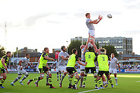 David Denton of Bath Rugby wins the ball at a lineout. Pre-season friendly match, between Leinster Rugby and Bath Rugby on August 26, 2016 at Donnybrook Stadium in Dublin, Republic of Ireland. Photo by: Patrick Khachfe / Onside Images