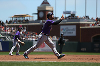 SAN FRANCISCO, CA - JUNE 28:  Nolan Arenado #28 of the Colorado Rockies chases a pop up at third base against the San Francisco Giants during the game at AT&T Park on Wednesday, June 28, 2017 in San Francisco, California. (Photo by Brad Mangin)