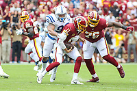 Landover, MD - September 16, 2018: Indianapolis Colts defensive end Jabaal Sheard (93) sacks Washington Redskins quarterback Alex Smith (11) during the  game between Indianapolis Colts and Washington Redskins at FedEx Field in Landover, MD.   (Photo by Elliott Brown/Media Images International)
