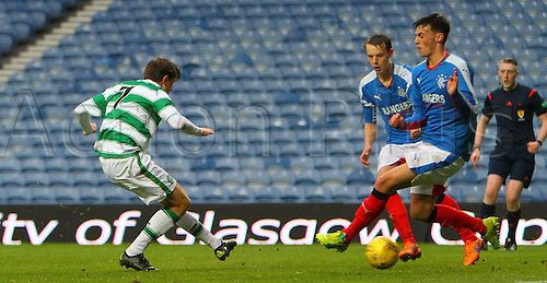 28.04.2016. Ibrox Stadium, Glasgow, Scotland. Youth Glasgow Cup Final. Rangers U17 versus Celtic U17. Broque Watson doubles Celtic's lead, 2-0
