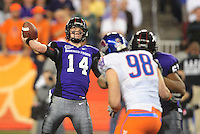 Jan. 4, 2010; Glendale, AZ, USA; TCU Horned Frogs quarterback (14) Andy Dalton throws a pass in the fourth quarter against the Boise State Broncos in the 2010 Fiesta Bowl at University of Phoenix Stadium. Boise State defeated TCU 17-10. Mandatory Credit: Mark J. Rebilas-