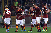 Calcio, Serie A: Roma vs ChievoVerona. Roma, stadio Olimpico, 31 ottobre 2013.<br /> AS Roma forward Marco Borriello, second from right, celebrates with teammates after scoring during the Italian Serie A football match between AS Roma and ChievoVerona at Rome's Olympic stadium, 31 October 2013.<br /> UPDATE IMAGES PRESS/Isabella Bonotto