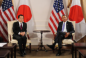 United States President Barack Obama , right, holds a bilateral meeting with Prime Minister of Japan Naoto Kan, left, in New York, New York, USA, Thursday, 23 September 2010.  The meeting between President Obama and Prime Minister Kan takes place on the sidelines of the 65th session of UN General Assembly (UNGA).     .Credit: Michael Reynolds - Pool via CNP .Credit: Michael Reynolds - Pool via CNP