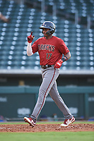 AZL D-backs Neyfy Castillo (17) celebrates as he crosses home plate after hitting a home run during an Arizona League game against the AZL Cubs 1 on July 25, 2019 at Sloan Park in Mesa, Arizona. The AZL D-backs defeated the AZL Cubs 1 3-2. (Zachary Lucy/Four Seam Images)
