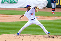 Iowa Cubs pitcher Carl Edwards Jr. (21) delivers a pitch during a Pacific Coast League game against the San Antonio Missions on May 2, 2019 at Principal Park in Des Moines, Iowa. Iowa defeated San Antonio 8-6. (Brad Krause/Four Seam Images)