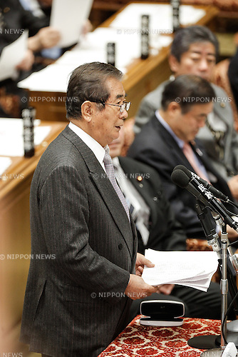 February 12, 2013, Tokyo, Japan - Shintaro Ishihara of the opposition Japan Restoration Party makes his return to a question-and-answer session of the Diet lower house Budget Committee in Tokyo on Tuesday, February 12, 2013. It was Ishihara's first Budget Committee appearance since his return to national politics after a hiatus of 17 years. (Photo by AFLO)