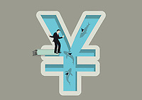 Businessman balancing on diving board above shark infested yen shaped swimming pool
