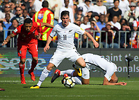 New Zealand's Marco Rojas in action during the 2018 FIFA World Cup Russia first-leg playoff football match between the NZ All Whites and Peru at Westpac Stadium in Wellington, New Zealand on Saturday, 11 November 2017. Photo: Dave Lintott / lintottphoto.co.nz