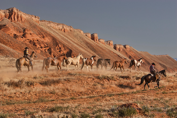 Two wranglers leading six horses home at a trot, single file, amidst a backdrop of red hills and dust