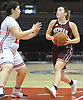 Kara Castaldo #20 of Mepham, right, gets pressured by Gabby Andino #22 of MacArthur during a Nassau varsity girls basketball game played at NYCB Live's Nassau Coliseum in Uniondale on Saturday, Dec. 23, 2017. Mepham won by a score of 45-40.