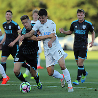 Pictured: Owain Jones of Swansea (C) Monday 15 August 2016<br /> Re: Swansea City FC U23 v West Bromwich Albion at Landore training ground, Swansea, Wales, UK