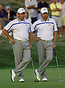 Soren Hansen and Lee Westwood of the European Ryder Cup Team during the friday afternoon fourballs of the 37th Ryder Cup Matches, September 16 - 21, 2008 played at Valhalla Golf Club, Louisville, Kentucky, USA ( Picture by Phil Inglis ).