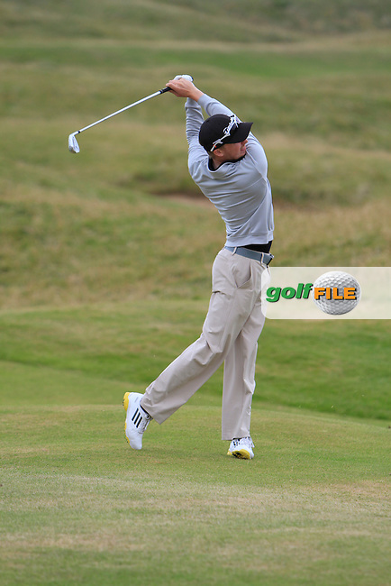 Simon Ward (Co. Louth) on the 15th fairway during the South of Ireland Amateur Open Championship Quarter Finals at Lahinch Golf Club  30th July 2013 <br /> Picture:  Thos Caffrey / www.golffile.ie