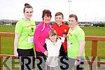 Eileen McCarthy, Trisha O'Connor, Mark O'Connor, Ava O'Connor, Michelle Brosnan at the Home to Rome 5k Fun Run at Castleisland Rugby club on Sunday