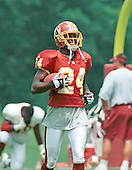 Washington Redskin cornerback Champ Bailey (24) practices running back punts at Redskin training camp at Redskin Park in Ashburn, Virginia on July 30, 2000. Bailey returned punts while at Georgia and could return some punts this season.<br /> Credit: Arnie Sachs / CNP