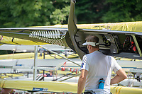Lucerne, SWITZERLAND, 12th July 2018, Friday  FISA World Cup series, No.3, Lake Rotsee, Lucerne,  Photographer Karon PHILLIPS. NZL M1X, Mahe DRYSDALE, carries boat