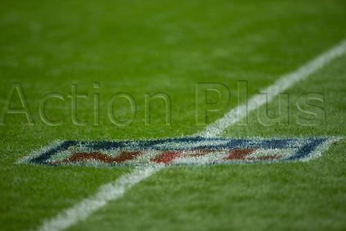 23.10.2016. Twickenham, London, England. NFL International Series. New York Giants versus LA Rams. NFL painted on the Twickenham turf.