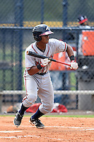 GCL Braves second baseman Ray-Patrick Didder (8) squares to bunt during the second game of a doubleheader against the GCL Yankees 1 on July 1, 2014 at the Yankees Minor League Complex in Tampa, Florida.  GCL Braves defeated the GCL Yankees 1 by a score of 3-1.  (Mike Janes/Four Seam Images)
