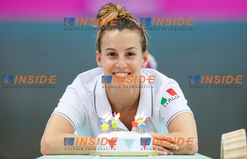 CAGNOTTO Tania  ITA gold medal with her birthday cake<br /> London, Queen Elizabeth II Olympic Park Pool <br /> LEN 2016 European Aquatics Elite Championships <br /> Diving<br /> Women's 3m synchronised springboard final <br /> Day 07 15-05-2016<br /> Photo Giorgio Perottino/Deepbluemedia/Insidefoto
