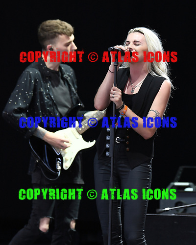 WEST PALM BEACH, FL - MAY 20: Lyndsey Gunnulfsen and Alex Babinski of PVRIS perform at The Perfect Vodka Amphitheater on May 20, 2017 in West Palm Beach Florida. Credit Larry Marano © 2017
