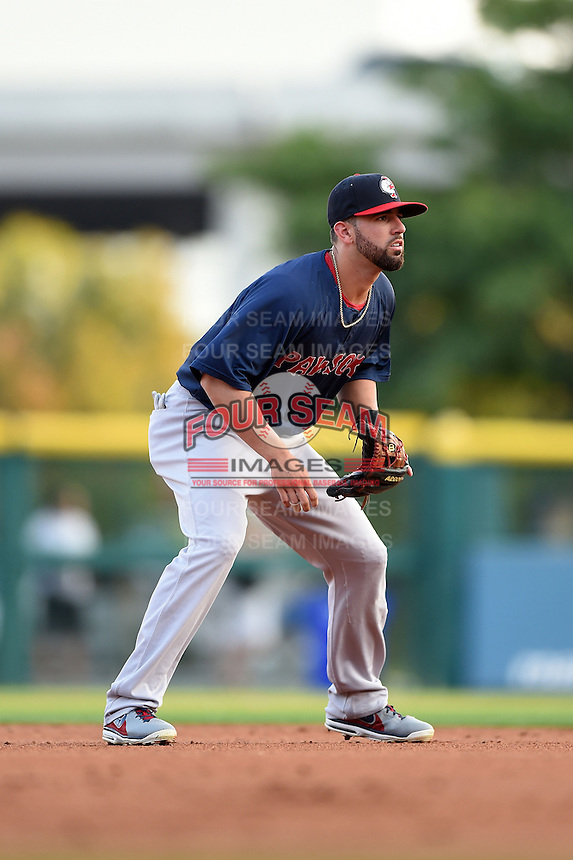 Pawtucket Red Sox shortstop Deven Marrero (29) during a game against the Buffalo Bisons on August 23, 2014 at Coca-Cola Field in Buffalo, New  York.  Buffalo defeated Pawtucket 15-2.  (Mike Janes/Four Seam Images)